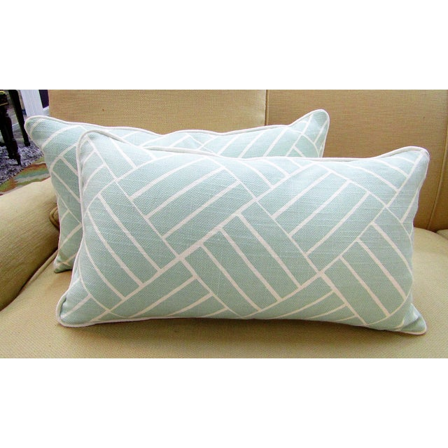 Contemporary Contemporary Pattern Lumbar Pillows in Seafoam - a Pair For Sale - Image 3 of 6