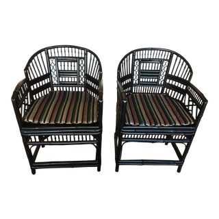 Chinese Chippendale Style Bamboo Cane Chairs - A Pair