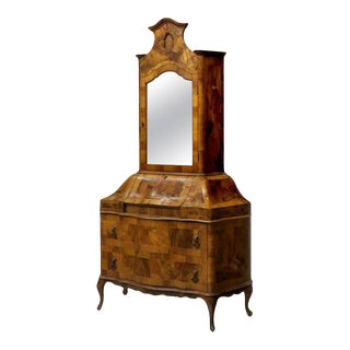 Italian Rococo Style Walnut Bombe Secretary Cabinet For Sale