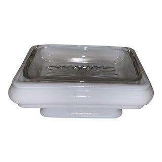 Mid-Century Modern Milk Glass Pedestal Soap Dish For Sale