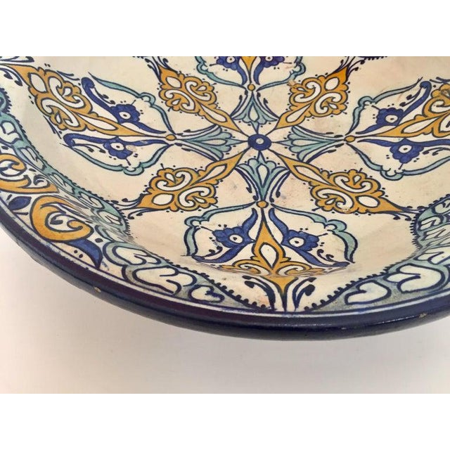 Moroccan Large Ceramic Plate Bowl From Fez For Sale In Los Angeles - Image 6 of 13