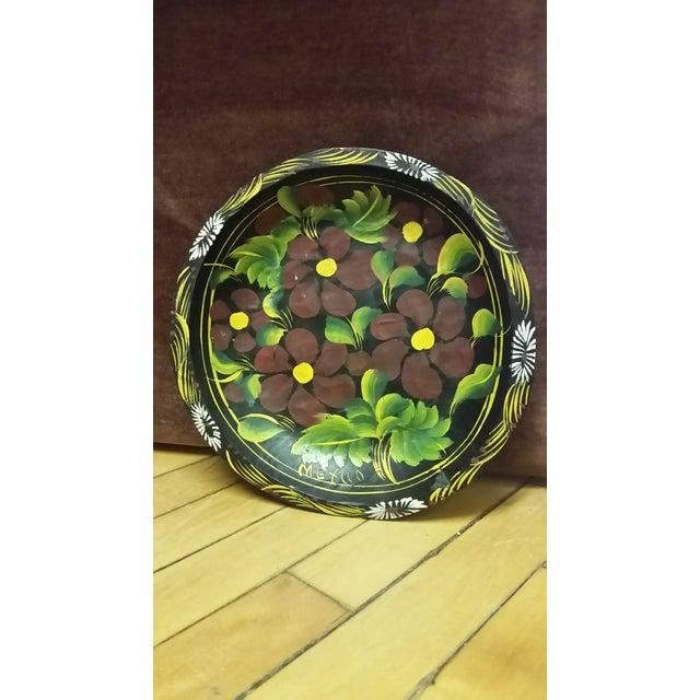Vintage Mexican Folk Art Wood Floral Hanging Plate For Sale - Image 4 of 4