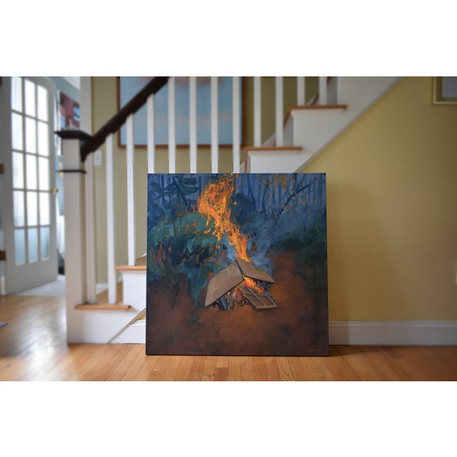 """Burning Old Paintings"" Contemporary Painting by Stephen Remick For Sale - Image 11 of 13"