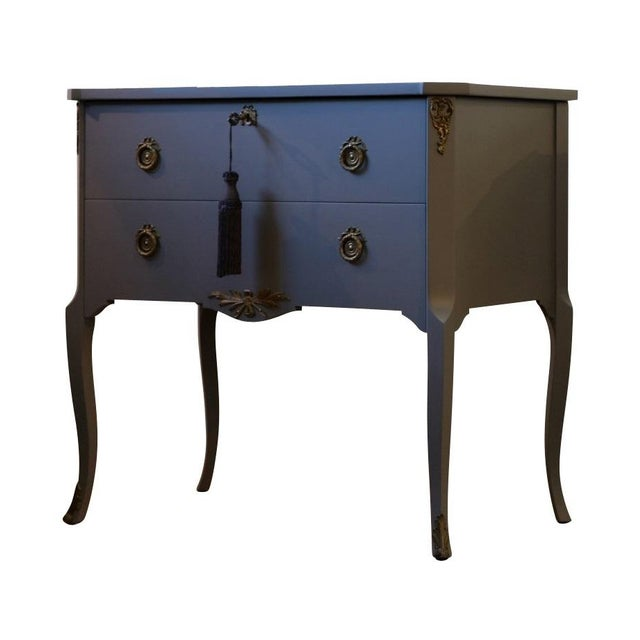 Gustavian Hauptbyrå with marble slab and frame in full matt black, redesigned with a custom lacquered finish. Fine...