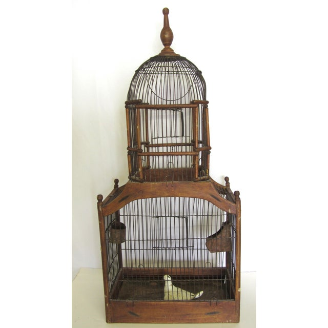 Metal 1880s Antique Wood & Wire Birdcage For Sale - Image 7 of 7