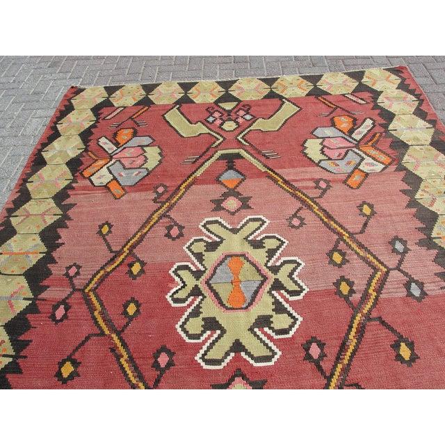 Red Vintage Turkish Kilim Rug - 7′1″ × 10′11″ For Sale - Image 8 of 11