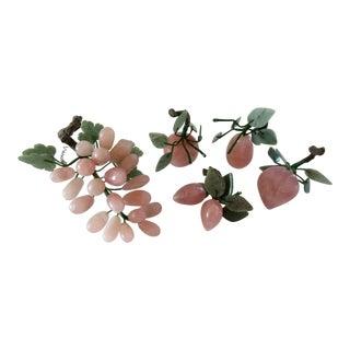 Vintage Rose Quartz Italian Fruit 5-Piece Set For Sale