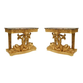 20th Century English Regency Gilt Console Tables - a Pair For Sale