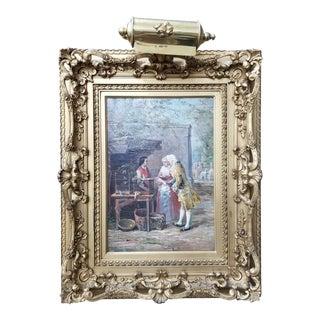 Antique Market Scene Painting For Sale