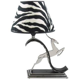 French Michel Zadounaisky Art Deco Jumping Antelope Wrought Iron Table Lamp For Sale