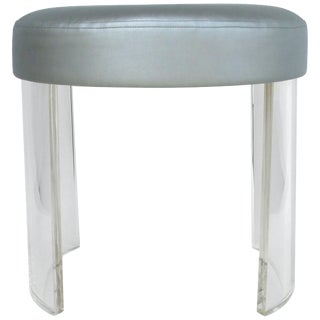 Custom Round Lucite Vanity Stool With a Silver Metallic Upholstered Seat Cushion For Sale