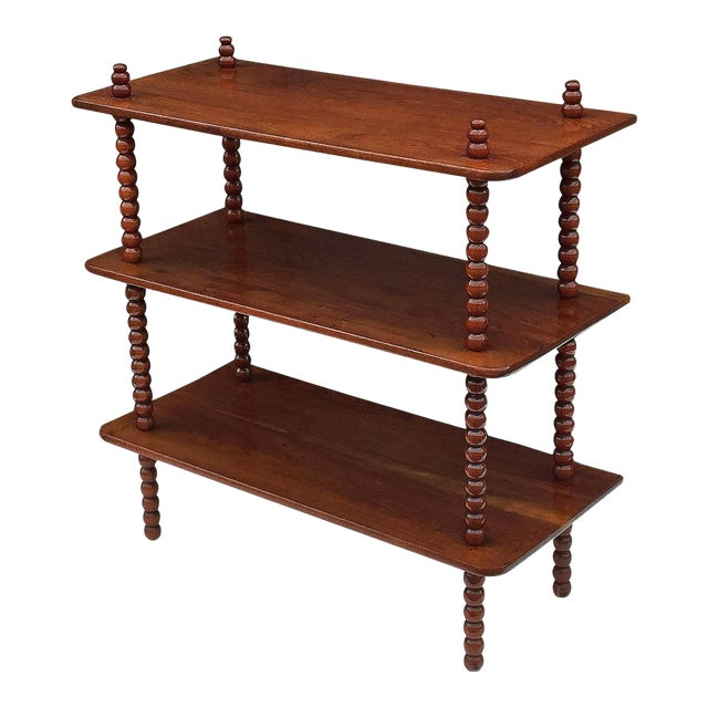 English Console Shelves of Mahogany with Bobbin Turned Supports For Sale
