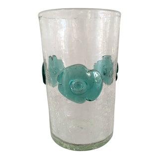Vintage Blenko Crackle Vase With Turquoise Blue Flowers For Sale