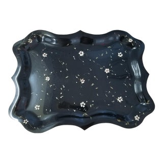 Vintage Floral Painted Serving Tray For Sale