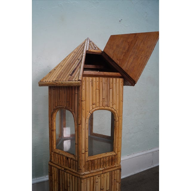 Vintage Rattan Bamboo Terrarium Display Cabinet For Sale - Image 4 of 9