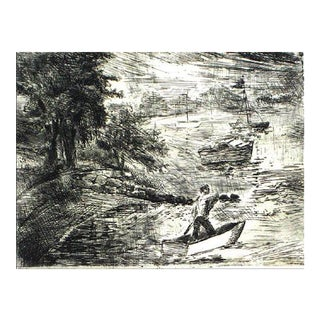 Expressive Lake Scene Etching on Paper 1940-60s For Sale