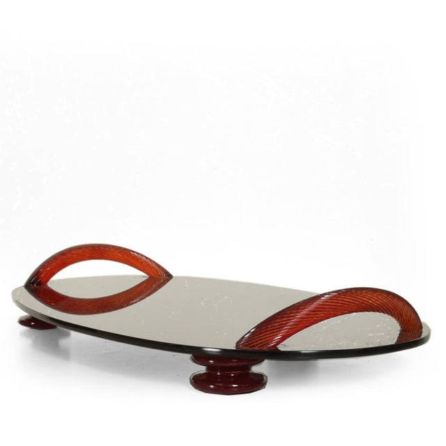 Modernist Oval Serving Tray in Smoke Glass With Red Ruby Glass Handles and Sabots Signed For Sale - Image 10 of 10