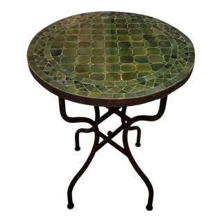 "24"" Tamegroute Green Moroccan Mosaic Table For Sale"