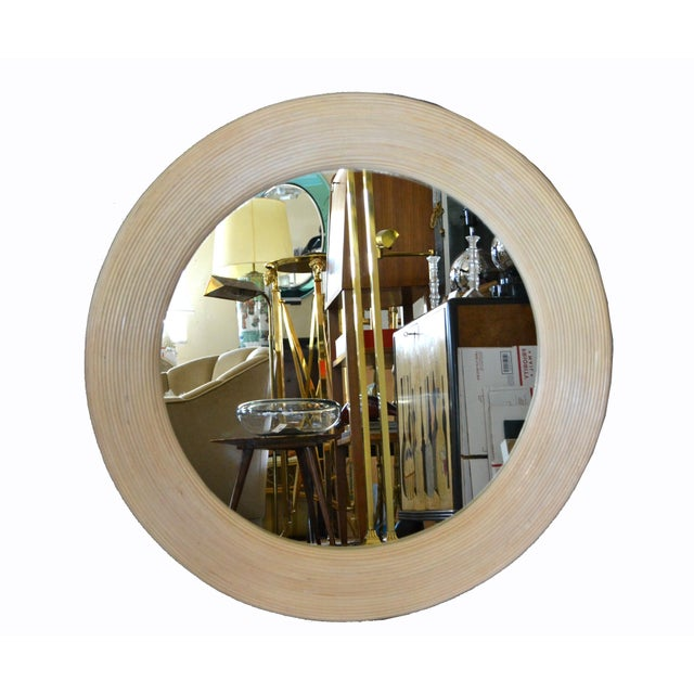 Mid-Century Modern Round Handmade White Washed Pencil Reed Wall Mirror For Sale - Image 12 of 13