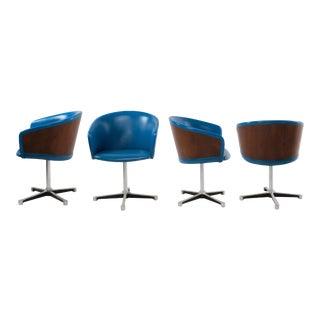 Mid-Century Walnut Blue Vinyl Swivel Armchairs After Eames La Fonda - Set of 4 For Sale