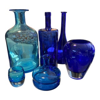 Blue Glass Bottle Collection, S/6 For Sale