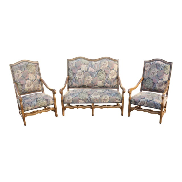 1900s Louis XIII Style Os De Mouton Walnut Settee and Armchairs - Set of 3 For Sale - Image 11 of 11