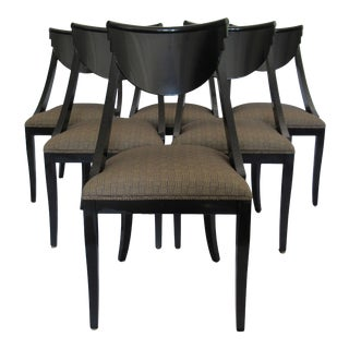 1980s Art Deco Inspired Italian Pietro Costantini High Gloss Lacquered Dining Chairs With Donghia Silk - Set of 6 For Sale