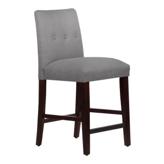 Tufted Linen Grey Tapered Counter Stool