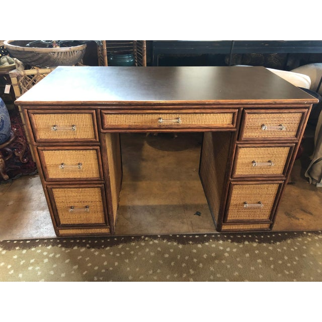 Tan 1990s Boho Chic Rattan Partner Desk For Sale - Image 8 of 8