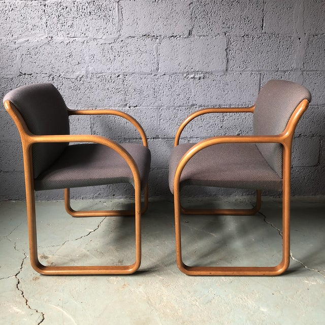 Exceptionally designed bentwood chairs. Made by Steelcase for an office originally, add new fabric and these could add...