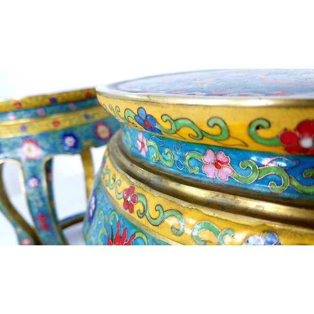 Chinese Cloisonne Bronze Stools - a Pair For Sale In Los Angeles - Image 6 of 13
