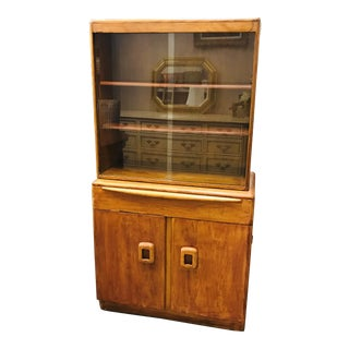 1950s Mid-Century Modern Heywood Wakefield Wheat Encore Step Back Hutch For Sale
