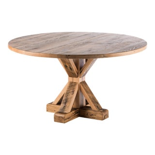 Round Reclaimed Oak Wood Dining Table