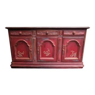 Late 20th Century's Boho Shabby Chic Farmhouse Sideboard / Credenza For Sale