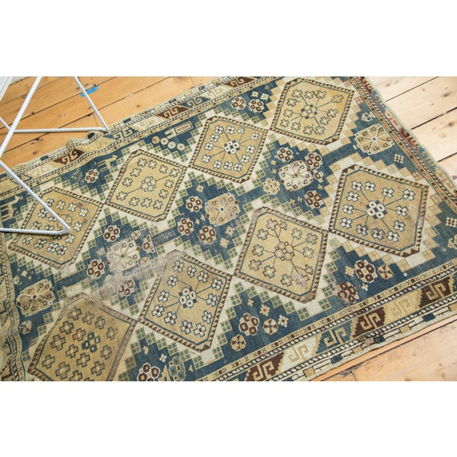 "Vintage Fragmented Caucasian Square Rug - 3'9"" x 4'8"" - Image 4 of 7"