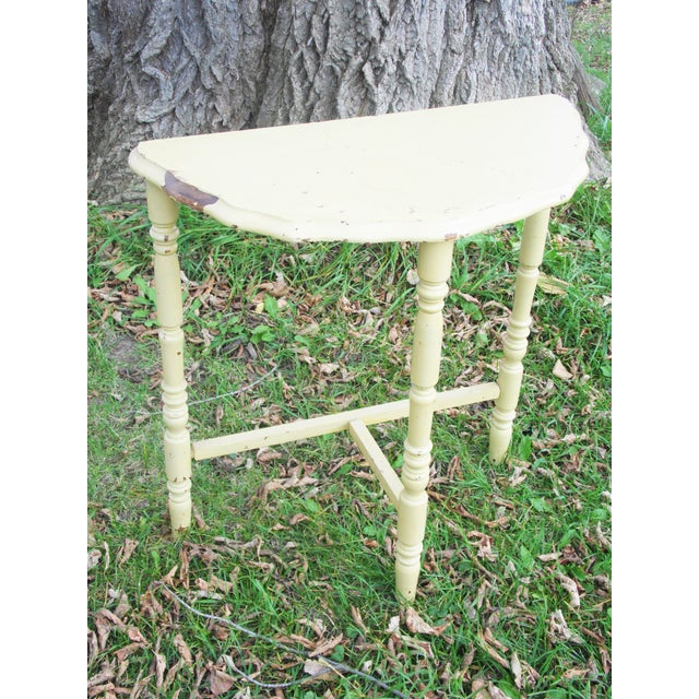 Vintage Yellow Half Moon Wood Side Table - Image 4 of 6