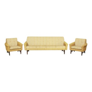 Gold Tufted Mid-Century Sleeper Sofa and Side Chairs For Sale