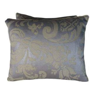 Pair of Avocado & Silvery Gold Fortuny Pillows