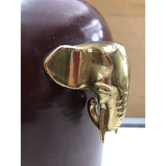 1970s Brass Elephant Motif Enameled Lamp For Sale - Image 5 of 6