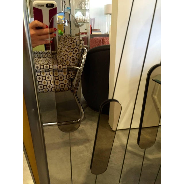 """Mid Century Modern Chrome and Cut-Glass """"Cat Tails"""" Mirror - Image 5 of 6"""