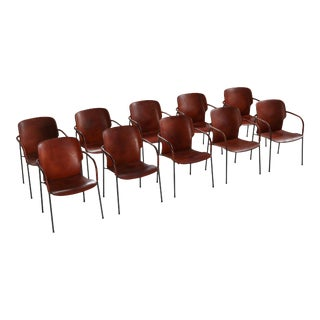 Gianfranco Frattini Armchairs Model 'Lalanda' in Dark Cognac Leather For Sale