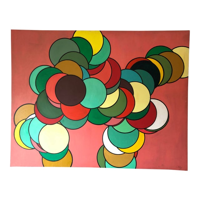 Mid Century Oversized Op Art Painting For Sale