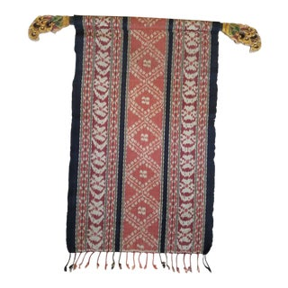 Vintage Balanese Ikat Wall Hanging With Hanger For Sale