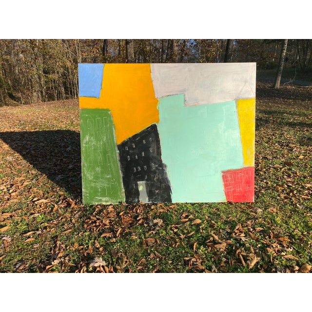 """Sarah Trundle Sarah Trundle Contemporary Abstract City-Scape Painting """"On the Block"""" For Sale - Image 4 of 7"""