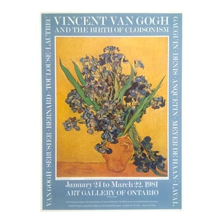 "Vincent Van Gogh Rare Vintage 1981 Post Impressionist Exhibition Poster "" Still Life : Vase With Irises Against a Yellow Background "" 1890 For Sale"