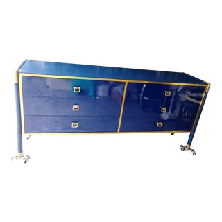 Vintage Navy Blue and Gold Laminate Campaign Regency Style 6 Drawer Dresser Credenza For Sale