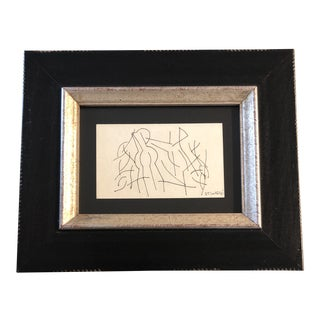 Original Vintage Robert Cooke Miniature Abstract Ink Drawing 1981 For Sale