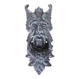 Cast Iron Green Man Door Knocker For Sale