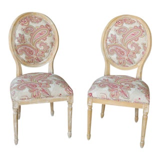 Louis XVI Style Paisley Side Chairs - a Pair For Sale