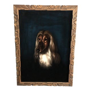 Vintage Velvet Russian Wolf Hound Dog Painting For Sale